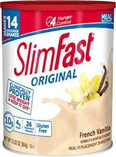SlimFast Original Meal Replacement Shake Mix – French Vanilla - Weight Loss Powder – 12.83 oz Canister