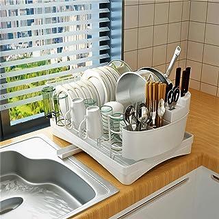 قفسه خشک کن ظرفشویی Adbiu ، قفسه ظرفشویی از جنس استنلس استیل و ستون تخلیه برای پیشخوان آشپزخانه ، ماشین ظرفشویی ظرفشویی برای ظرفیت بزرگ با صفحه آبکش