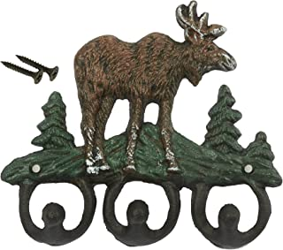 Wrought Iron Key Hooks - Natural Moose Theme Set of 3 Hooks for Interior Decoration, Clothing, Keys, Includes Nails