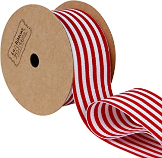 LaRibbons Red and White Horizontal Striped Ribbon, Gift Wrap Ribbon, 1-1/2 Inch by 10 Yard/Spool