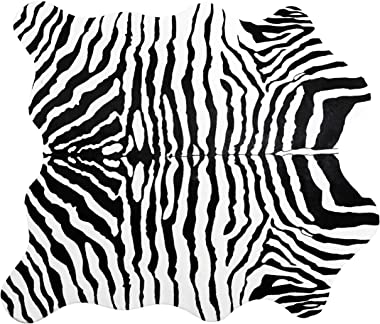 Ivalue Zebra Print Area Rug Faux Zebra Hide Soft Fluffy Fur Throw Rug Fluffy Floor Carpet Rug Mat for Living Room Bedroom(4.6