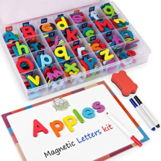 Gamenote Classroom Magnetic Alphabet Letters Kit 234 Pcs with Double - Side Magnet Board - Foam Alphabet Letters for Preschool Kids Toddler Spelling and Learning Colorful