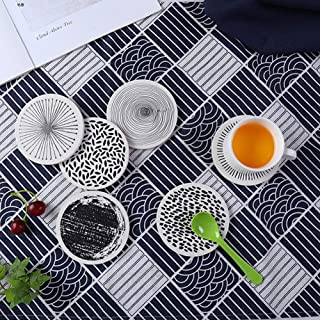 Absorbent Stone Coasters Grey Lines Thirsty Ceramic Coasters Set of 6 PCS Coasters with Cork Backing for Drinks Home Office and Kitchen (black)