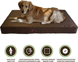 PetBed4Less Deluxe Orthopedic Memory Foam Dog Bed Pet Pad with Chew Resistant Tear Resistant - Not Chew Proof and Removable Zipper Cover + Free Waterproof Liner [Replacement Zipper Covers Available]