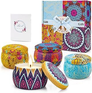 Bougies Parfumées Coffret Cadeau Bougie Aromatique, 4 Boîtes, 4.4oz, 120 Heures Brûlantes, Cire de Soja avec Carte de Voeu...
