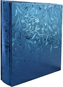 RECUTMS Photo Album 4x6 600 Photos PU Leather Cover Large Wedding Photo Books Black Pages Horizontal and Vertical Family Album Gift Memory Book (Blue S-Leaf)