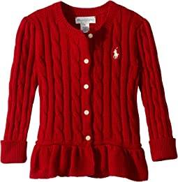 Cable Cotton Peplum Cardigan (Infant)