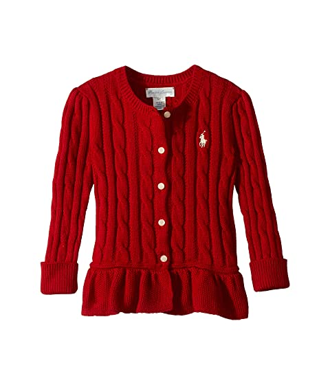d2f1d740408b Ralph Lauren Baby Cable Cotton Peplum Cardigan (Infant) at 6pm