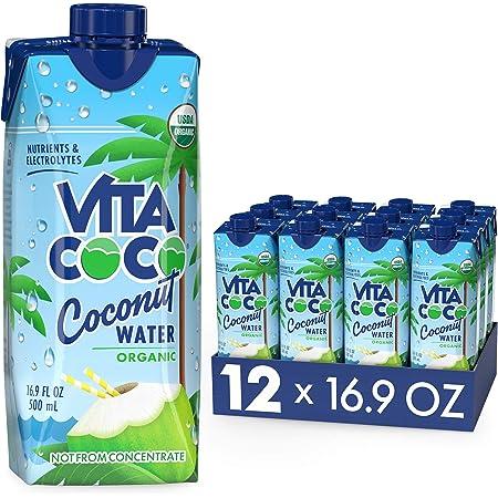 Vita Coco Coconut Water, Pure Organic | Refreshing Coconut Taste | Natural Electrolytes | Vital Nutrients | 16.9 Oz (Pack Of 12)