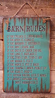 Barn Rules Rustic Western Antiqued Plaque Wooden Sign.