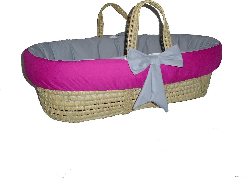BabyDoll Bedding Reversible Moses Basket Bedding Set, Hot Pink Grey