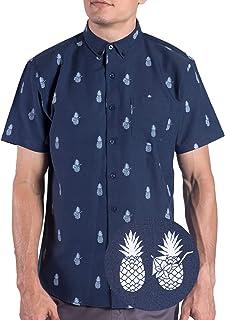 Visive Printed Hawaiian Pineapple Oxford Short Sleeve Button Up Shirt Size S - 4XL