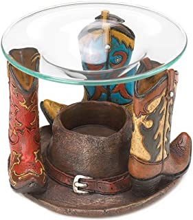 Cowboy Boot Western Hat Oil Wax Warmer Tealight Candle Holder Table Decor