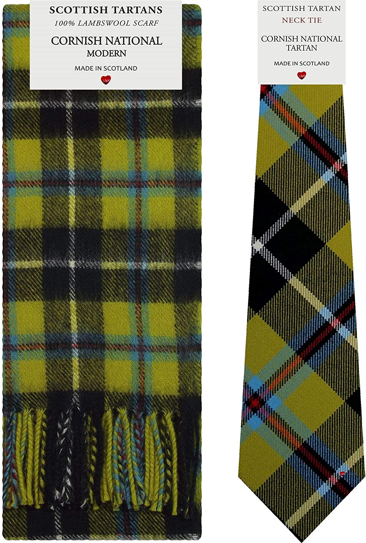 Cornish National Tartan Plaid 100% Lambswool Scarf & Tie Gift Set