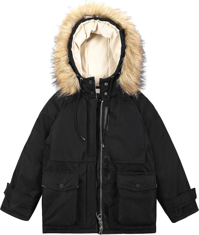 Dzyoleize Children Down Parka Coats Girls Quilted Puffer Jacket Outwear Children Boys Coat with Detachable Faux Fur Trim
