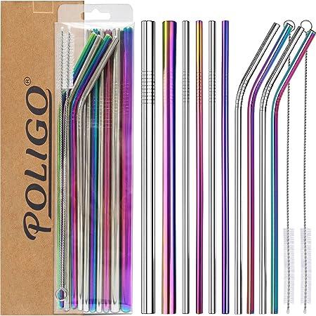 POLIGO 13 pièces ensemble de pailles en inox - pailles réutilisables inox - 4pcs incurvées, 4pcs droites, 2pcs de grande taille, 2 pinceaux et une boîte de rangement