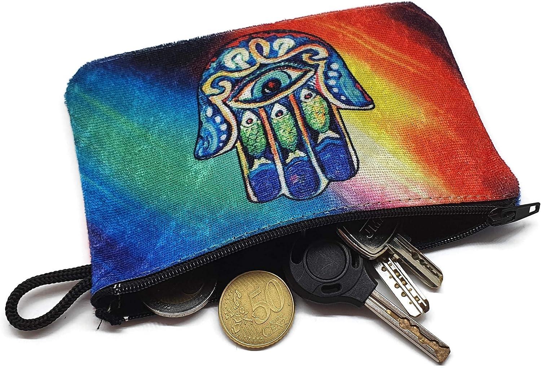 MYSTIC JEWELS - Monedero para Tarjetas, Llaves - diseño de Hamsa (Mano de Fatíma) - Traditional (15x10cm) (Color 1)