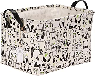 Sea Team Panda Design Canvas Fabric Storage Bin Collapsible Storage Basket Organizers with PU Leather Handles and Drawstring Cover for Kid's Room, 16.5 by 11.4 by 9.4 inches, Waterproof Inner