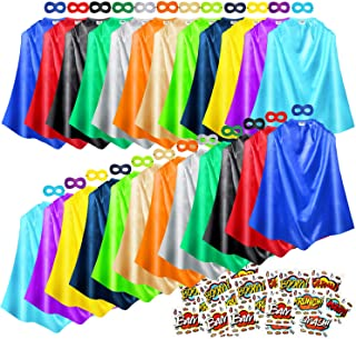 Superhero Capes and Masks, 24 Sets Bulk Pack Kids Capes, Dress Up Costume for Birthday Party, with Superhero Stickers
