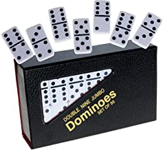 Dominoes Double 9 Set, Tournament (Jumbo) Size, Solid White with Black Dots _ 55 Dominoes in Set _ Great for Standard Dominoe Game