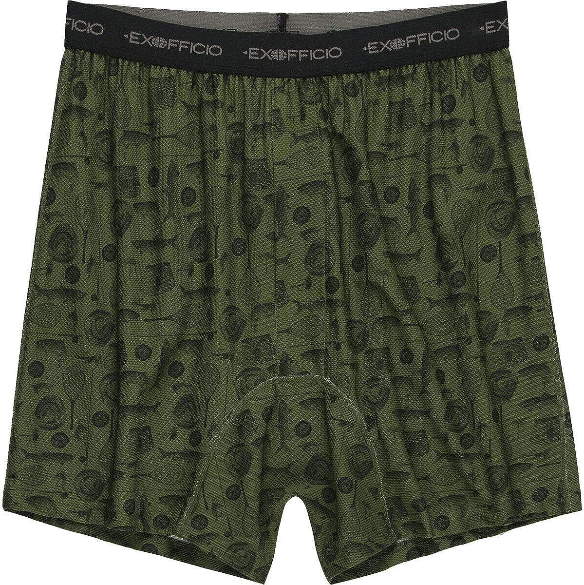 ExOfficio Men's GNG Printed Boxer - Alpine Green Fly Fishing - Medium