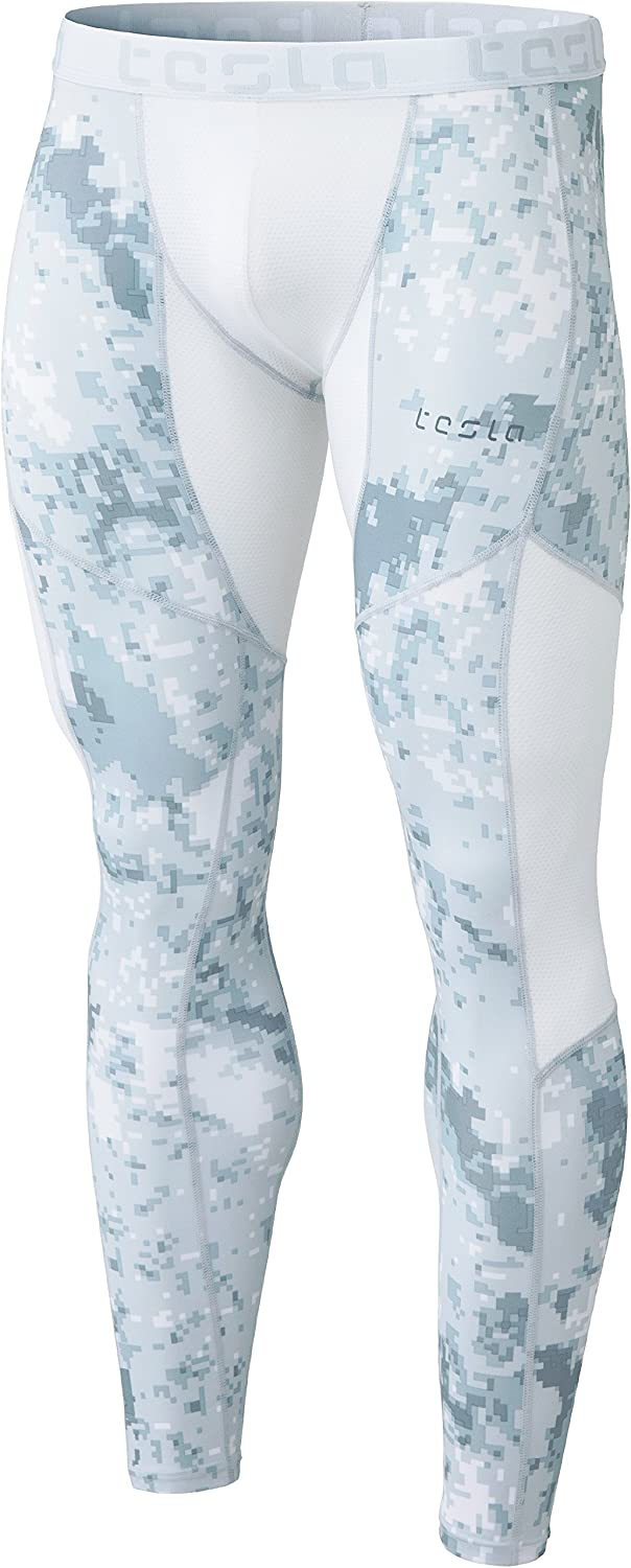 TSLA TMMUP79XLG_XLarge Men's MeshPanel Compression Pants Baselayer Cool Dry Sports Tights Leggings MUP79