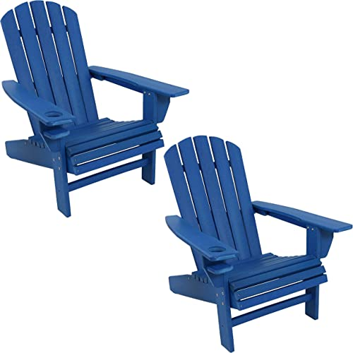new arrival Sunnydaze All-Weather Outdoor Adirondack Chair with Drink Holder - Heavy Duty outlet sale HDPE Weatherproof Patio Chair - Ideal for Lawn, Garden or Around the Firepit high quality - Blue- Set of 2 online sale