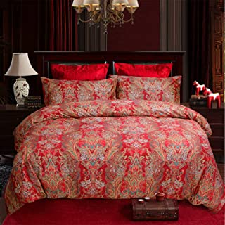 Softta Boho Bedding California King 3 Pcs Paisley Damask Pattern Bohemian Duvet Covers Quality red and Gold 100% Egyptian Cotton 1000 Thread Count Super Soft Hypoallergenic