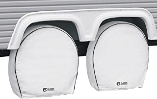 """Classic Accessories OverDrive Deluxe RV & Trailer Wheel Cover, 4-Pack, White, (For 27"""" - 30"""" diameter tires, up to 8.75"""" wide)"""