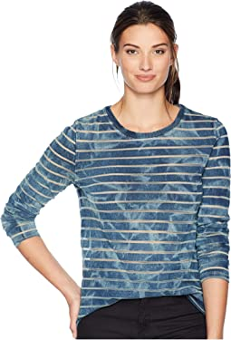 Washed Indigo Burnout Stripe Long Sleeve Crew