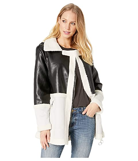 ROMEO & JULIET COUTURE Faux Suede Aviator Jacket, Black/Grey