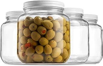 Half Gallon Glass Mason Jar (64 Oz - 2 Quart) - 4 Pack - Wide Mouth, Metal Airtight Lid, USDA Approved BPA-Free Dishwasher Safe Canning Jar for Fermenting, Sun Tea, Kombucha, Dry Food Storage, Clear