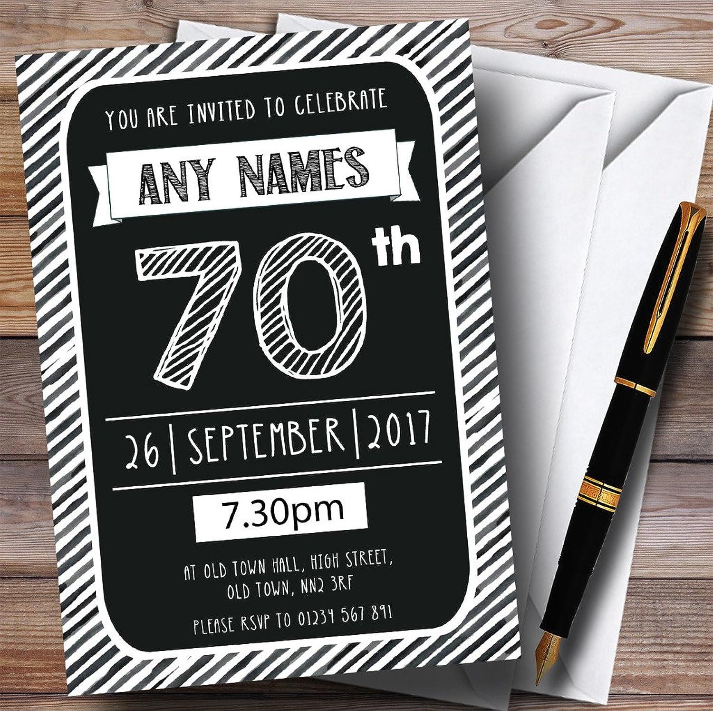 Black & White Stripy Deco 70th Personalised Birthday Party Invitations