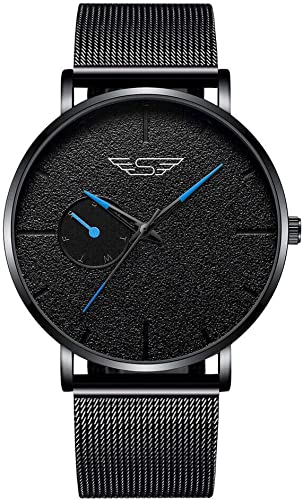 Shocknshop Casual Analogue Black Thin Dial Mesh Stainless Steel Mens Boys Watch W294