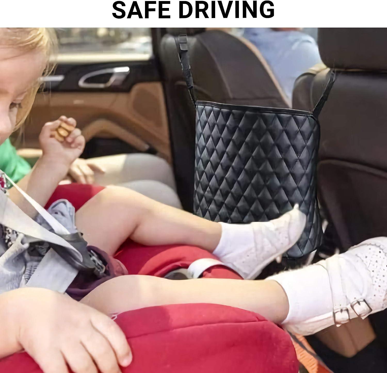 Eulee Puly Car Net Pocket Handbag Holder Between Seats Car Organizer Large Capacity Bag for Purse Storage Netting Pouch Barrier of Back Seat Pet Kids