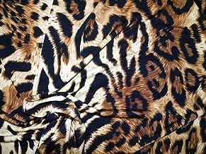 Printed ITY Lycra Spandex Stretch Cheetah Leopard Tiger Taupe Brown Black B308