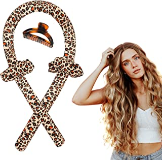Heatless Curling Rod Headband Leopard No Heat Curler Silk Ribbon Wrap Hair Rollers Kit with Scrunchies Claw Clips for Wome...