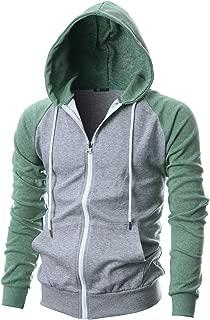 Mens Slim Fit Long Sleeve Lightweight Raglan Zip-up Hoodie with Kanga Pocket
