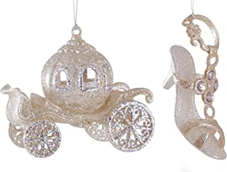 Fairy Tale Princess Carriage & Slipper Gold Glitter Hanging Christmas Ornament Set of 2