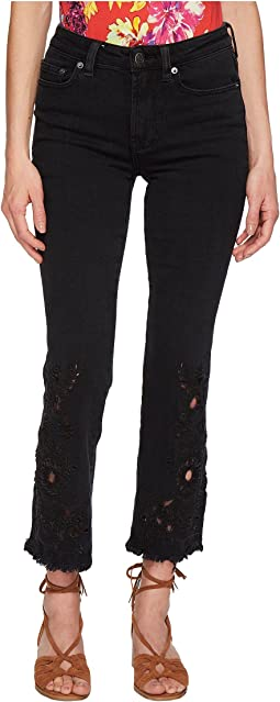Free People Cutwork Cigarette Jeans - Black