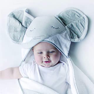 Bubba Blue Petit Elephant Novelty Hooded Bath Towel, Neutral Grey/White