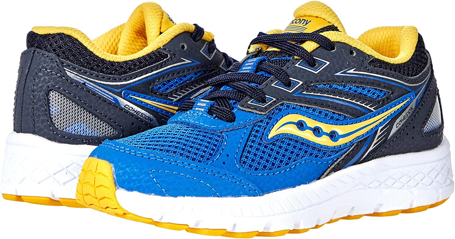 Saucony Cohesion 14 LACE to trust Toe service 4.5 U Yellow Running Shoe Blue