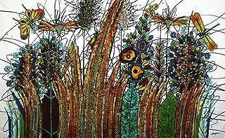 元バティックアートペイントonコットン生地、' Luxuriant Grass ' by m. Yono (150cm X 90cm)