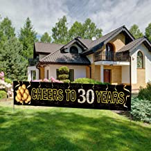 Large Cheers to 30 Years Banner, Black Gold 30 Anniversary Party Sign, 30th Happy Birthday Banner