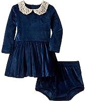 Lace Collar Velvet Long Sleeve Waisted Dress Set (Infant)