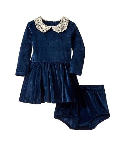 Rock Your Baby Lace Collar Velvet Long Sleeve Waisted Dress Set (Infant) (Navy) Girl