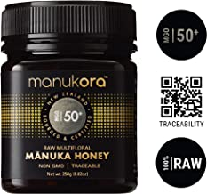 Manukora MGO 50+ Multifloral Raw Mānuka Honey (250g/8.8oz) Authentic Non-GMO New Zealand Honey, UMF & MGO Certified, Traceable from Hive to Hand