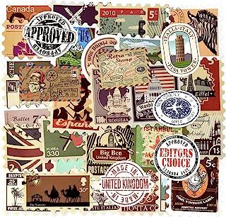 Vintage Waterproof Vinyl Stickers for Laptop Luggage Scrapbook Postcard (50Pcs Stamp Style)