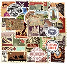 Vintage Waterproof Vinyl Stickers for Laptop Luggage Scrapbook Postcard (50Pcs Stamp Style)