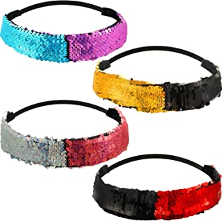 4 Pcs Sequin Mermaid Headband for Women and Girls, Reversible Flip Sequins Headband Glitter Elastic Stretchy Headwrap for Teens Girls and Mermaid Party